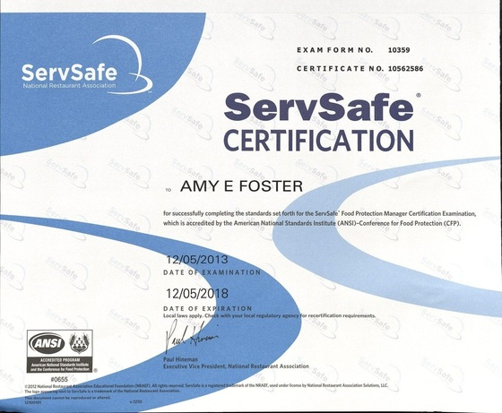 Certifications and Awards - Amy Foster